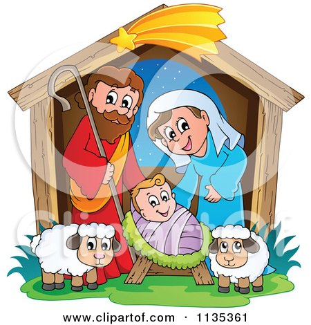 Cartoon Of A Nativity Scene - Royalty Free Vector Clipart by visekart