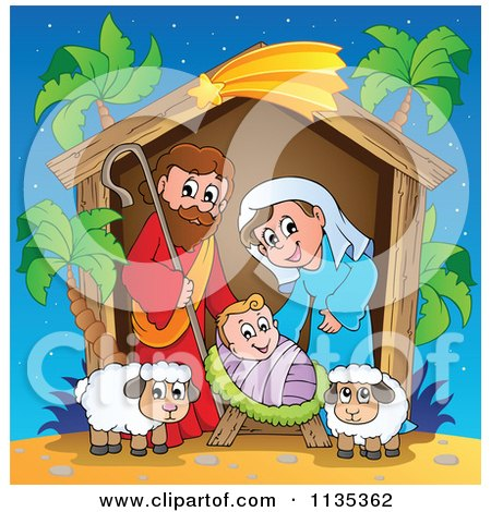 Cartoon Of A Nativity Scene With Palm Trees - Royalty Free Vector Clipart by visekart