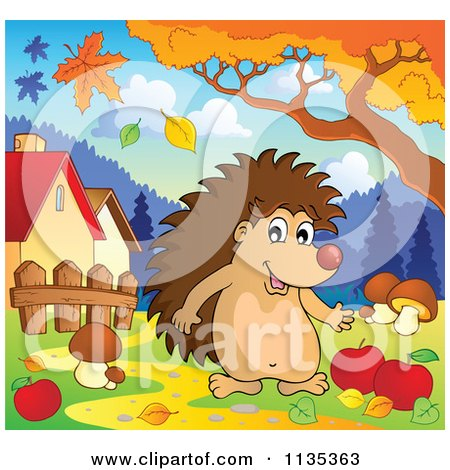 Cartoon Of A Hedgehog With Mushrooms And Apples Under An Autumn Tree - Royalty Free Vector Clipart by visekart