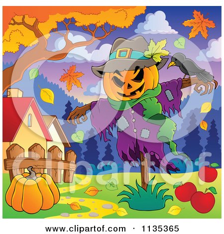 Cartoon Of A Scarecrow And Bird With A Pumpkin Under An Autumn Tree - Royalty Free Vector Clipart by visekart