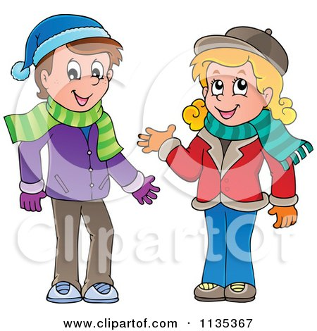 Cartoon Of A Boy And Girl In Scarves And Hats - Royalty Free Vector Clipart by visekart