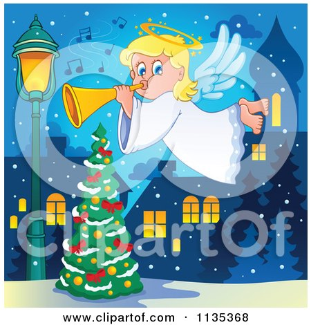 Cartoon Of A Blond Christmas Girl Angel Playing A Horn Over A Tree - Royalty Free Vector Clipart by visekart