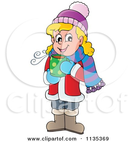Cartoon Of A Happy Blond Girl Drinking Hot Cocoa - Royalty Free Vector Clipart by visekart