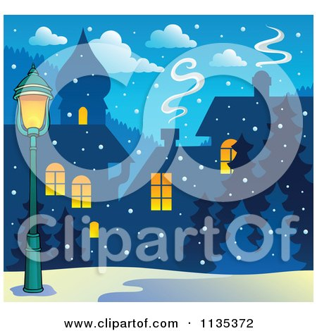 Cartoon Of A Street Light And Winter Village With Snow At Night - Royalty Free Vector Clipart by visekart