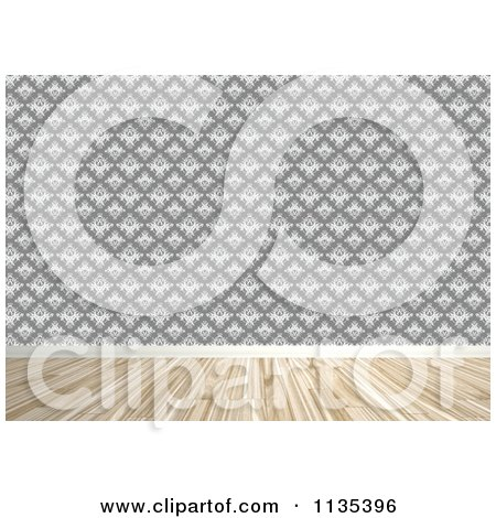 Clipart Of A Room Interior With Damask Wallpaper And Wood Floors - Royalty Free CGI Illustration by Arena Creative