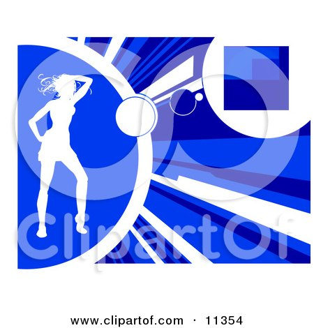 Silhouetted Woman Dancing on a Blue Background Clipart Illustration by AtStockIllustration