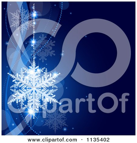 Clipart Of A Blue Snowflake Winter And Wave Background 1 - Royalty Free Vector Illustration by dero