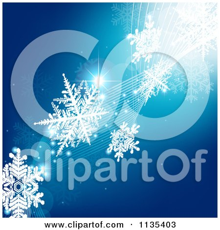 Clipart Of A Blue Snowflake Winter And Wave Background 2 - Royalty Free Vector Illustration by dero