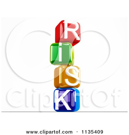 Clipart Of 3d Colorful Stacked Risk Letter Cubes - Royalty Free CGI Illustration by MacX