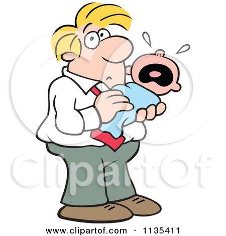 Cartoon Of A Father Holding A Crying Baby - Royalty Free Vector Clipart by Johnny Sajem