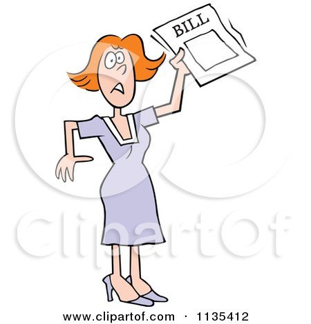 Cartoon Of A Stressed Woman Holding A Bill - Royalty Free Vector Clipart by Johnny Sajem