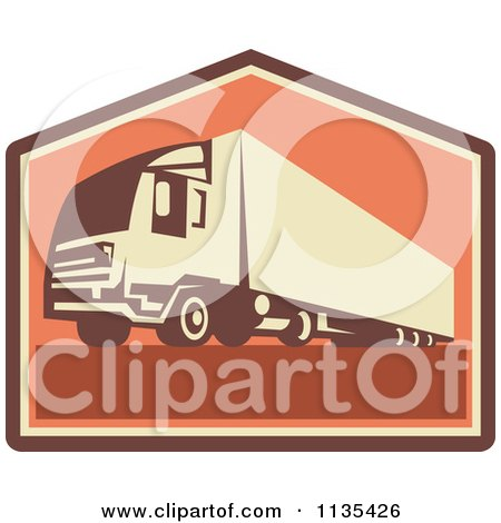 Clipart Of A Retro Big Rig Container Truck And Trailer - Royalty Free Vector Illustration by patrimonio