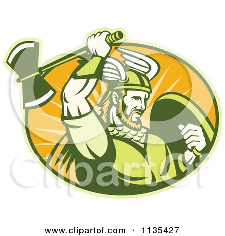 Clipart Of A Retro Viking Warrior With A Winged Helmet And Battle Axe In An Oval - Royalty Free Vector Illustration by patrimonio