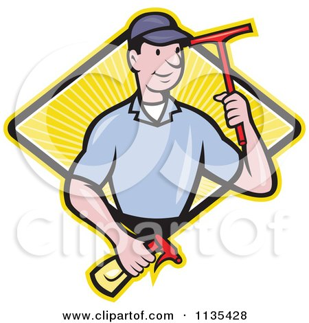 Clipart Of A Retro Window Cleaner Worker With A Squeegee And Spray Bottle Over A Diamond - Royalty Free Vector Illustration by patrimonio