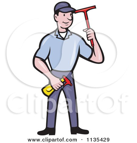Clipart Of A Retro Window Cleaner Worker With A Squeegee And Spray Bottle - Royalty Free Vector Illustration by patrimonio
