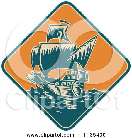 Clipart Of A Retro Tall Galleon Ship At Sea In An Orange Diamond - Royalty Free Vector Illustration by patrimonio