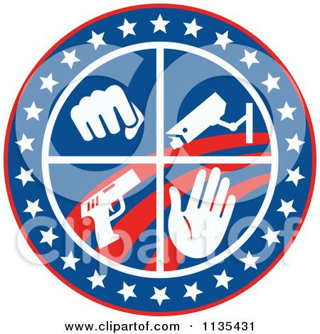 Clipart Of A Circle Of A Fist Surveillance Security Camera Pistol And Hand With Stars And Stripes - Royalty Free Vector Illustration by patrimonio