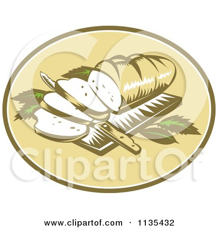 Clipart Of A Retro Loaf Of Breadon A Cutting Board With A Knife - Royalty Free Vector Illustration by patrimonio