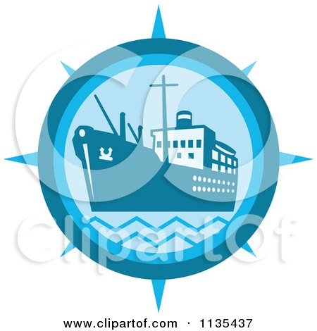 Clipart Of A Cargo Ship Compass In Blue - Royalty Free Vector Illustration by patrimonio
