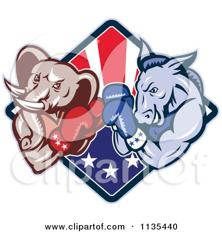 Clipart Of A Retro Political Elephant And Donkey Boxing Over An American Diamond - Royalty Free Vector Illustration by patrimonio