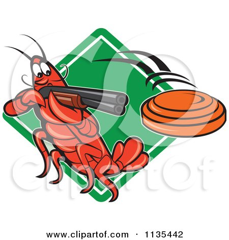 Clipart Of A Crayfish Skeet Target Shooting Over A Diamond - Royalty Free Vector Illustration by patrimonio