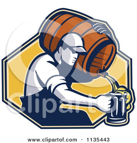Clipart Of A Retro Man Pouring Beer Into A Mug From A Barrel Over A Yellow Hexagon - Royalty Free Vector Illustration by patrimonio