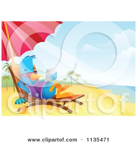 Cartoon Of A Bluebird Using A Tablet On A Beach Chaise Lounge - Royalty Free Vector Clipart by Qiun