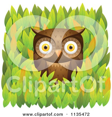 Cartoon Of A Brown Owl In Leaves - Royalty Free Vector Clipart by Qiun
