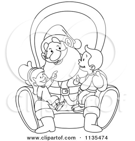 Cartoon Of A Outlined Children On Santas Lap - Royalty Free Vector Clipart by yayayoyo