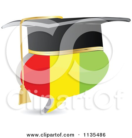 Clipart Of A 3d Graduation Guinea Flag Chat Balloon - Royalty Free Vector Illustration by Andrei Marincas