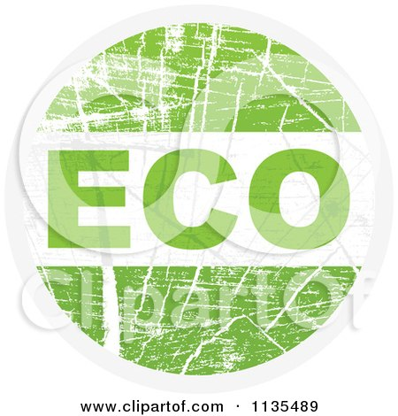 Clipart Of A Round Grungy Green Eco Icon - Royalty Free Vector Illustration by Andrei Marincas