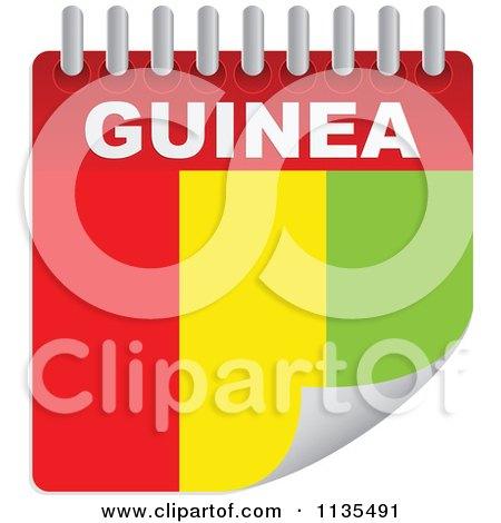 Clipart Of A Guinea Flag Calendar - Royalty Free Vector Illustration by Andrei Marincas