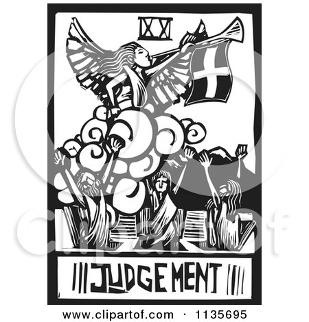 Clipart Of A Judgement Tarot Card Black And White Woodcut - Royalty Free Vector Illustration by xunantunich