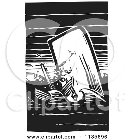 Clipart Of A Scrimshaw Of A Whale Attacking A Boat Black And White Woodcut - Royalty Free Vector Illustration by xunantunich