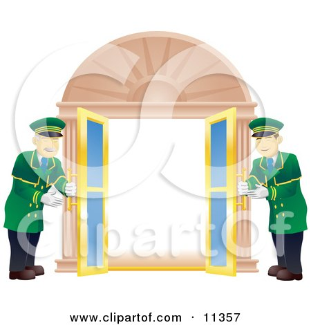 Two Friendly Door Men Opening Double Doors Clipart Illustration by AtStockIllustration
