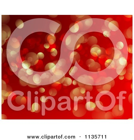 Clipart Of A Red And Gold Bokeh Light Sparkle Christmas Background - Royalty Free Vector Illustration by KJ Pargeter