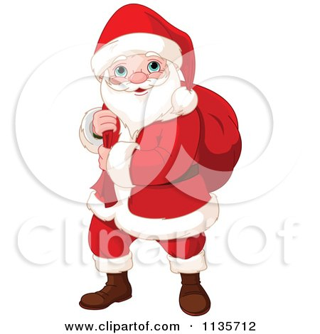 Cartoon Of Santa Carrying A Sack Over His Shoulder - Royalty Free Vector Clipart by Pushkin