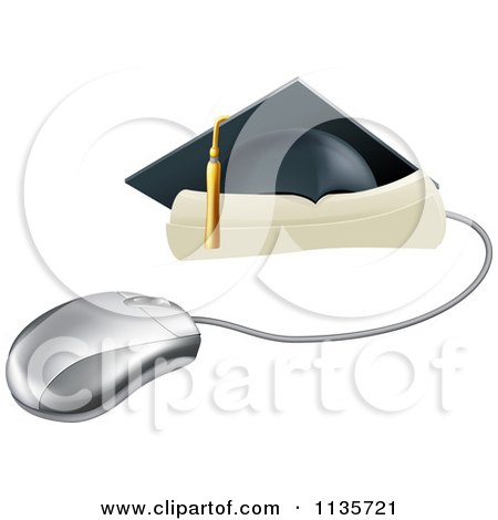 Clipart Of A Computer Mouse With A Graduation Cap And Diploma - Royalty Free Vector Illustration by AtStockIllustration