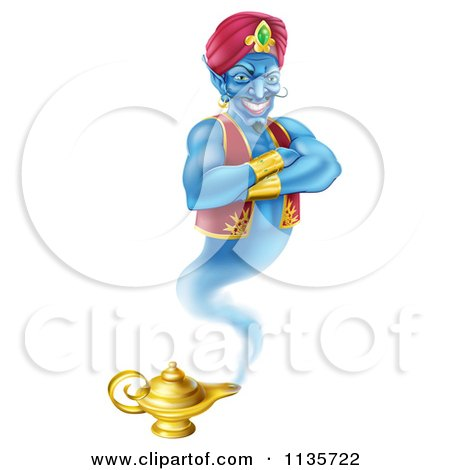 Clipart Of A Genie Emerging From His Lamp - Royalty Free Vector Illustration by AtStockIllustration