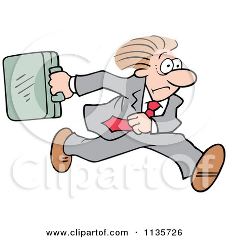 Cartoon Of A Late Businessman Running With A Briefcase - Royalty Free Vector Clipart by Johnny Sajem
