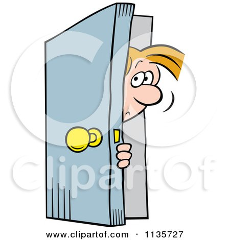 Cartoon Of A Man Peeking In A Door - Royalty Free Vector Clipart by Johnny Sajem