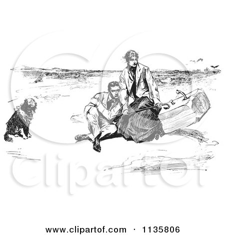 Clipart Of A Retro Vintage Couple And Dog On A Beach In Black And White - Royalty Free Vector Illustration by Picsburg