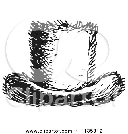 Clipart Of A Retro Vintage Top Hat In Black And White - Royalty Free Vector Illustration by Picsburg