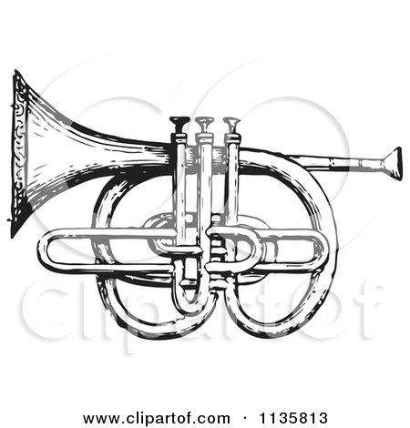 Clipart Of A Retro Vintage Cornet And Pistons In Black And White - Royalty Free Vector Illustration by Picsburg