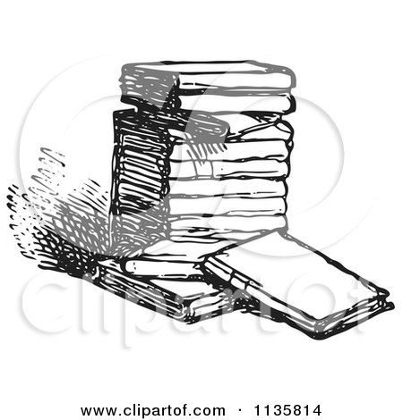Clipart Of A Retro Vintage Stack Of Books In Black And White - Royalty Free Vector Illustration by Picsburg