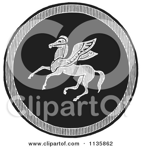 Clipart Of A Retro Vintage Black And White Emblazoned Greek Pegasus Shield - Royalty Free Vector Illustration by Picsburg