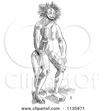 Clipart Of A Retro Vintage Fantasy Cercopithecus Wild Man Black And White - Royalty Free Vector Illustration by Picsburg