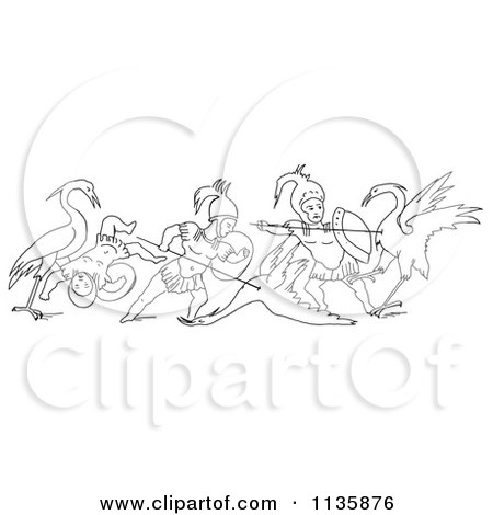 Clipart Of A Retro Vintage Battle Between Cranes And Pygmies Black And White 2 - Royalty Free Vector Illustration by Picsburg