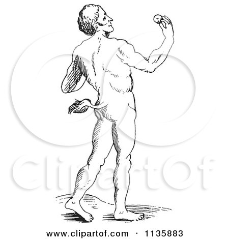 Clipart Of A Retro Vintage Fantasy Tailed Man Black And White - Royalty Free Vector Illustration by Picsburg