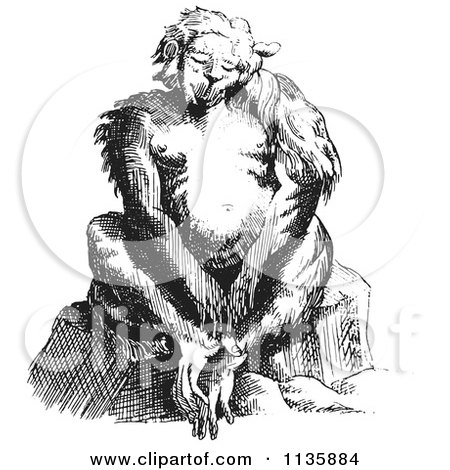 Clipart Of A Retro Vintage Fantasy Ape Creature Sitting Black And White - Royalty Free Vector Illustration by Picsburg